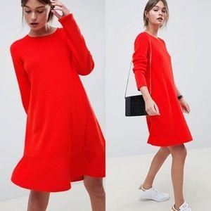 ASOS Red Sweater Dress With Ruffle Hem 2
